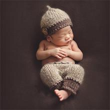 Hot Sale Newborn Baby Photography Props Soft Handmade Brown Knit Cute Baby Cap And Pants Set For Bebek Clothes 0-6 Months(China)