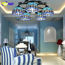 FUMAT Glass Art Lamp Mediterranean Style Brief Vintage Ceiling Lamps Stained Glass Light Fixtures For Living Room Kitchen LED