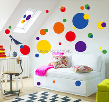 [Fundecor] cartoon creative colorful circle wall stickers removable pvc living room kitchen home decor art decals 6722