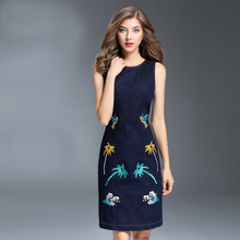 2017 New Autumn Elegant Embroidery Sleeveless Denim Dress High Quality Brief Slim Knee Length O_neck Women Cute Dress(China)