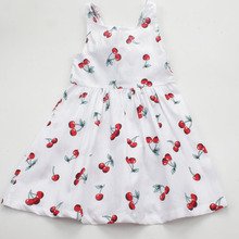 Summer Casual Cherry Print Girls Dress Toddler Bowknot A Line Princess Dress Cotton Sleeveless Kids Vestidos Baby Girl Clothes