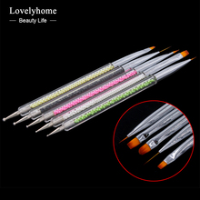 5pcs/ set Nail Art Two Head Brushes Pens Pearl Handle For UV Gel Polish Paint Drawing Liner Dotting Brush Nails Tools Manicure