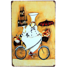 Chef on Bicycle Vintage Metal Sign Tin Decor Cook Plaque Food Plate Wine Board for restaurant hotel home party SPM19 20x30cm(China)
