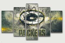 Green Bay Packers Oil Painting Famous Home Wall Art Design Living Room Oil Paintings 5pieces Decorate Pictures Bedroom Frame