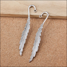 Factory price 10 Pieces/Lot 85mm*14mm Antique Silver plated bookmark charms feather charm For Jewelry Making(China)