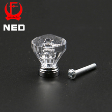 10PCS NED 25mm Diamond Shape Design Clear Acrylic Knobs Cupboard Drawer Pull Kitchen Cabinet Wardrobe Zinc Alloy Handle Hardware(China)