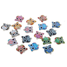 Cute Mixed Color Cat Owl Elephant Alloy Drop Oil Connectories Charms For Jewelry Making DIY 20pcs(China)