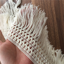 5Yards 12cm Beige Long Tassel Trim Dangling Curtain Lace Sewing Craft Material Z1224