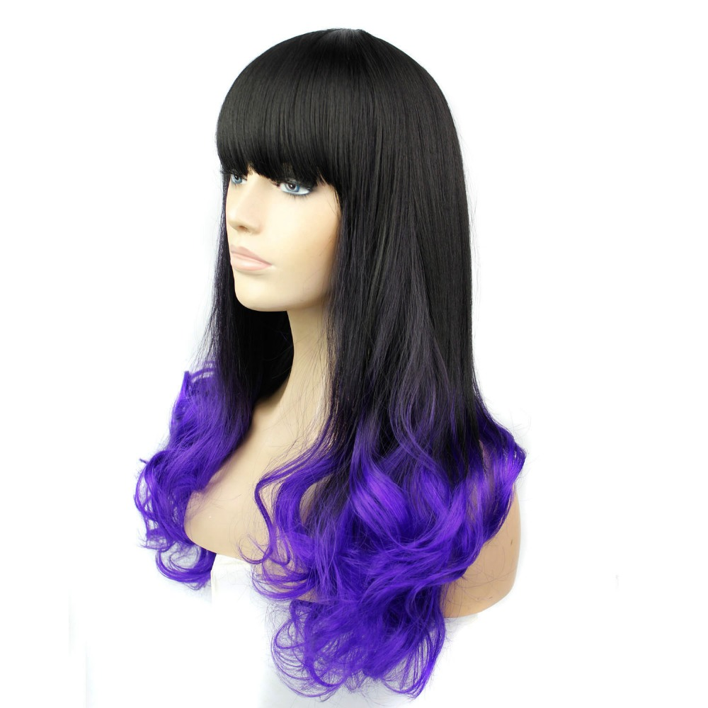 Long Wavy Hair Ombre Wigs for Black Women Cheap Synthetic Wigs with Bangs Blue Brown Purple Burgundy None Lace Fiber Hair<br><br>Aliexpress