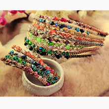 Fancy Colors Crystal Rhinestone Barrettes Hair Pins and Clips Clinquant String Wrapped Hairbands for Women Fashion Hair Jewelry
