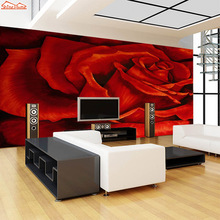 *ShineHome* 3D Hot Red Rose Floral Love Pattern Room Background Wallpaper Roll 3d for Livingroom Wall Paper Ceiling Mural Rolls
