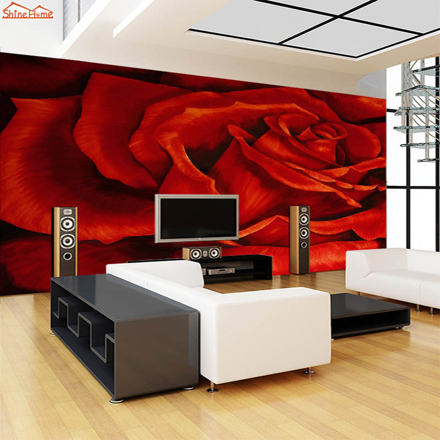 *ShineHome* 3D Hot Red Rose Floral Love Pattern Room Background Wallpaper Roll 3d for Livingroom Wall Paper Ceiling Mural Rolls<br>