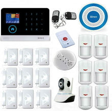 LCD House Office Burglar Intruder Alarm System With HD IP Camera Wireless Zones App Control WIFI GSM Security Alarm Kit