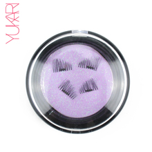 YUKARI 4PCS 3D Magnetic false Eyelashes make up Semi-Hand Made cilios magneticos Magnet EyeLash Mink Reusable eyelash Thicker(China)