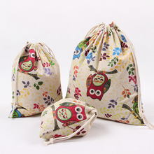 High Quality Owl Cotton Storage Bag Eco-Friendly Shopping Tea/candy/smoking/key Package Drawstring Bag Small Cloth Bag Gift(China)