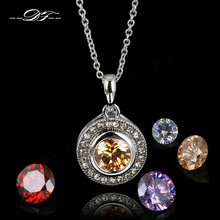 Unique Round 4 Color Crystal in 1 Vintage Chain Necklaces & Pendants Silver Color Cubic Zirconia Jewelry For Women DFN375(China)