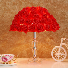 Modern rose flower crystal table lamp red pink wedding deco desk lamp crystal beside lamps for living room bedroom light fixture(China)