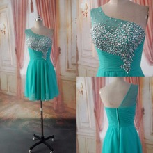 Real Jade Teal Juniors Short Cocktail Dresses 2017 One Shoulder Beaded Informal Prom Party Dresses Party Gowns Custom Made