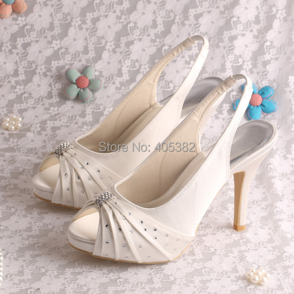 Wedopus Sling Back White Ivory Satin Wedding Bridal Sandals High Heeled with Rhinestone<br><br>Aliexpress