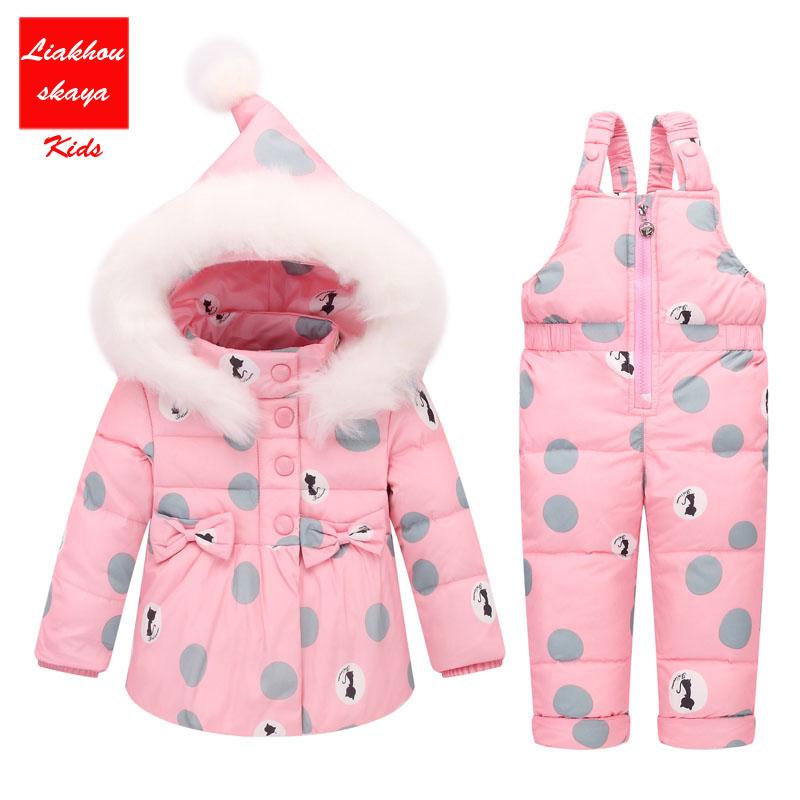 2017 Newest Children Girls Clothing Sets Winter hooded Duck Down Jacket + Trousers Waterproof Snowsuit Warm Kids Baby Clothes <br>