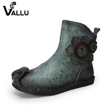 VALLU 2018 New Handmade Vintage Women Shoes Ankle Boots Genuine Leather Flower Woman Flat Boots(China)