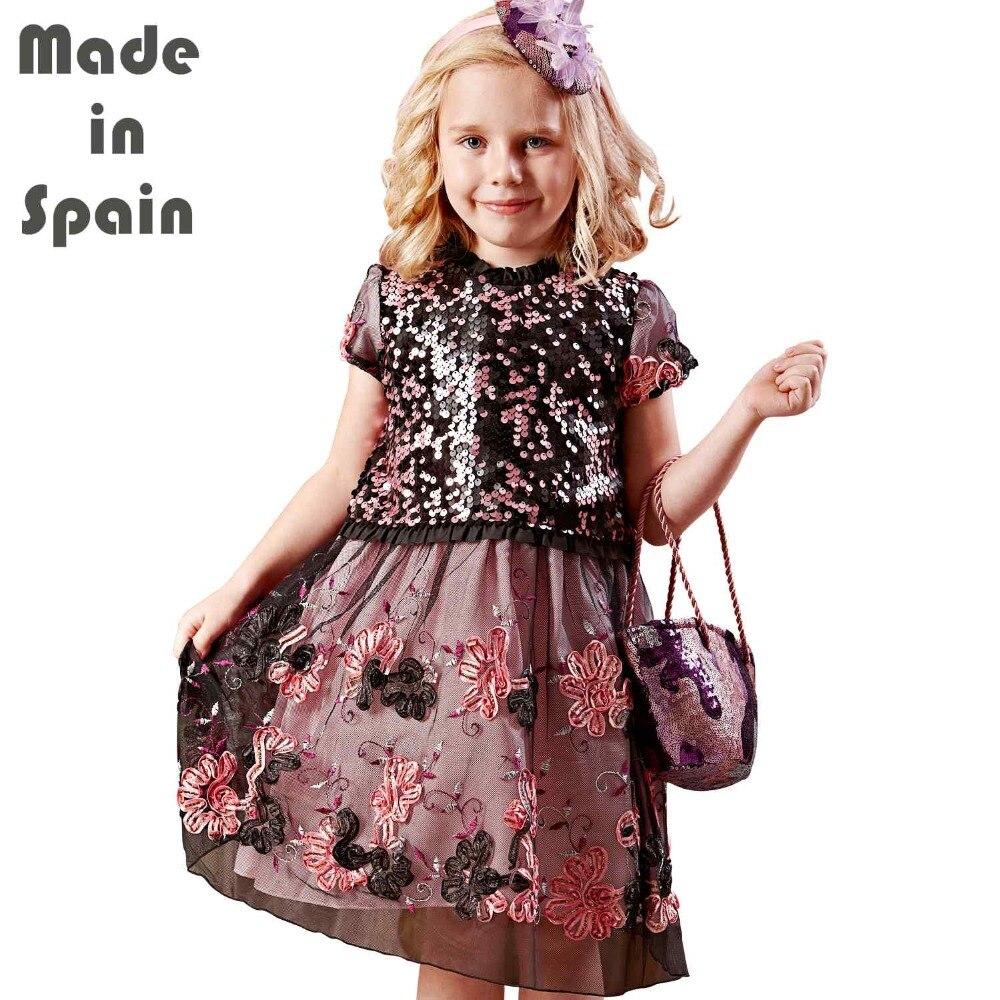 i-lollipop Luxury Flower Girl Dresses Children Clothes Kids Girl Dress La Villette Summer Dress Pailette Sequins Embroidery<br>
