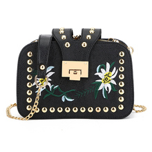 2017 Hot Sale Flap Female Bag New Wind Embroidery Small Bread Multilayer Grip Single Shoulder Plant And Plants Chain Across