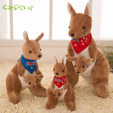 Retail 20cm Australia Lovely mother and son Mother and child kangaroo Plush doll plush toy doll Children birthday gift