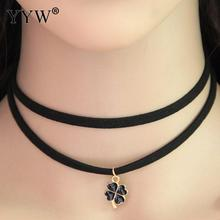Four Leaf Clover Gold Color Plated Fashion Choker Velventeen Cord Necklace Gothic Black Chain