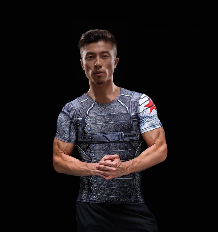 Short Sleeve 3D T Shirt Men T-Shirt Male Crossfit Tee Captain America Superman tshirt Men Fitness Compression Shirt Punisher MMA 53