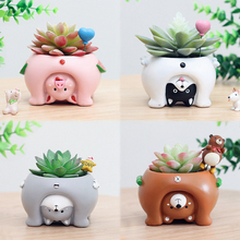 1pc New Upside Down Animal Resin Planters for Succulents Kawaii Cute Mini Flower Pots for Desktop Bonsai Home Garden Decoration(China)