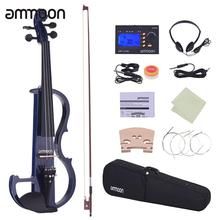 ammoon Full Size 4/4 Solid Wood Electric Silent Violin Fiddle Style-2 Ebony Fingerboard Pegs Chin Rest Tailpiece(China)