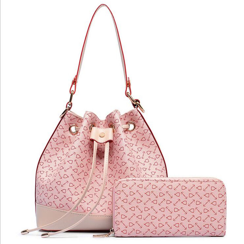2 pieces Set Women Handbag and Purse String Draw Bucket Messenger Bag for Ladies Stone Pattern Printing Shoulder Bag Tote<br><br>Aliexpress