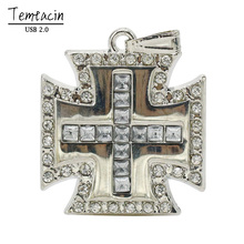 Metal Cross USB Flash Drive 8GB 16GB 64GB PenDrive Personalized Gift Pen Drive USB Flash Drive Pendant Crystal USB Drive
