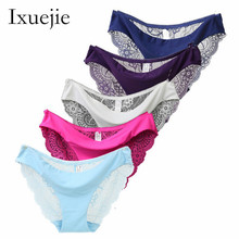 Buy 5pcs/lot S-XXL 5 Size Women Sexy Underwear Transparent Hollow Women's Lace Panties Seamless Panty Briefs Intimates