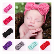 New autumn winter warm Children's hair accessories headbands fashion sweet bow wool knitted headband hair band 8 colors(China)