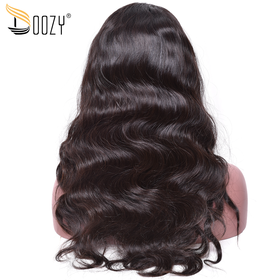 Doozy body wave 250 density virgin brazilian human hair 22inch natural color 360 lace frontal wigs