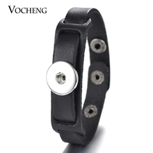 10PCS/Lot Wholesale Vocheng Ginger Snap Button Bangle 2 Colors 18mm Leather Charms Bracelet NN-495*10 Free Shipping(China)