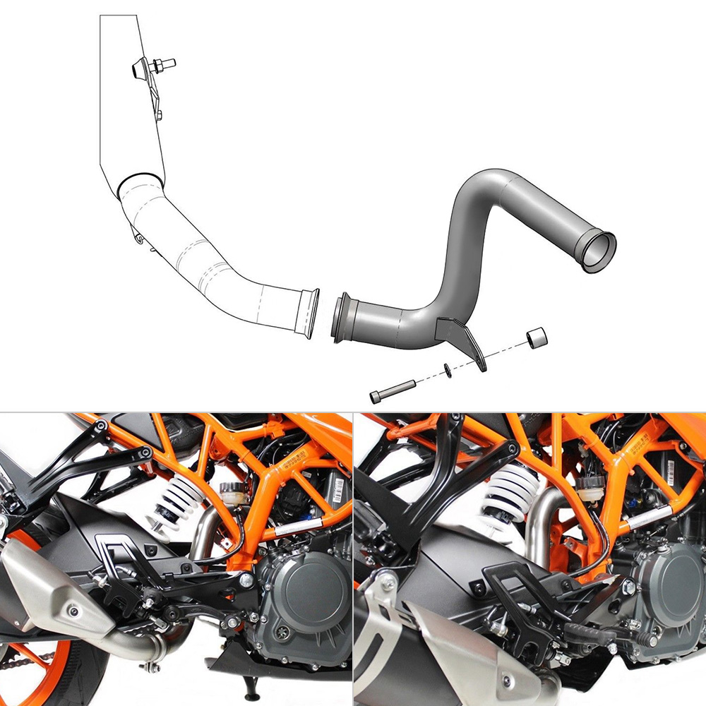 NICECNC Motorcycle Stainless Steel Mid Pipe Decat Eliminator Race Exhaust For KTM 125 390 Duke RC125 RC390 2017 2018 2019 title=