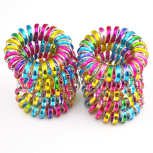 10Pcs/Lot Colorful Telephone Wire Cord Line Gum Holder Elastic Hair Band Tie Scrunchy 3.5cm Hair Accessory(China)