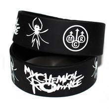 1PC My Chemical Romance Silicone Wristband Show Your Support Rubber Power Men Bracelet Spider Punk Rock Band Music Lover