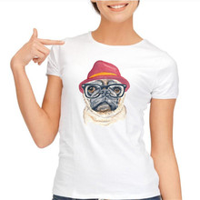 Womens Tops Pug Funny Glasses Dog Printed T Shirts Women Cotton O Neck Short Sleeve Tees tShirts Woman Clothing  Summer Clothes