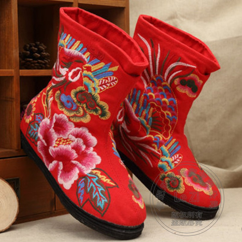 Internal Height Increase Exotic Wide Calf 2015 Fall Boots Women Handmade Chinese National Trend Designer Embroidered Flat Heel<br><br>Aliexpress