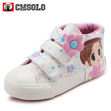 CMSOLO Canvas Shoes 2017 Girls Sneakers High-top Bowtie Female Princess Baby Shoes Kids School Student Children Footwear Flower(China)