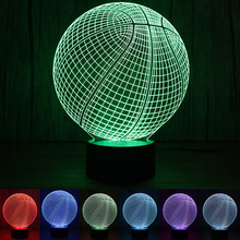 1PC/set Novelty 3D Visual Acrylic LED Night Light NBA Basketball USB Lighting Bedroom Table Lamp Colorful Atmosphere Lamp(China)