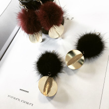 Rainbery Wholesale New Fashion Stud Earring Fur Pom Pom Earring Real Mink Hair Clothes Ornaments Fur Ball Earring Pendant Gifts