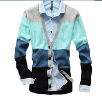 Autumn 2014  cotton v-neck sweater men cardigan Men's sweaters stitching color,free shipping