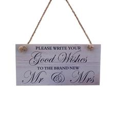 Wood Wedding Sign Please Write your Good Wishes to The Brand New Mr&Mrs
