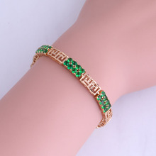 The Unique Design Green Imitation Emerald Chain & Link Bracelets for Womens Yellow Gold Color Vintage Jewelry 19.5CM X0300