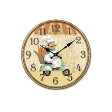 European Rural Countryside Kitchen Wall Clock Home Decor Mute Minimalist Decor Round Wooden Clocks Living Room Bedroom